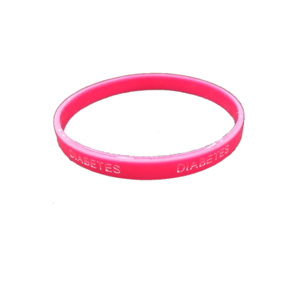 Pulsera silicona Diabetes - Color Rosa