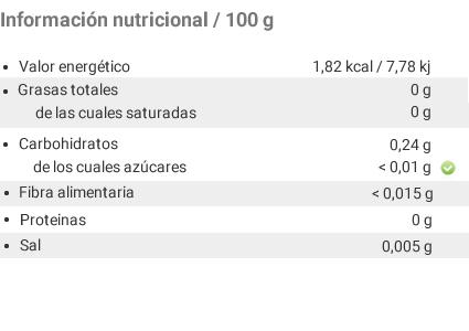 Bolero - Información nutricional