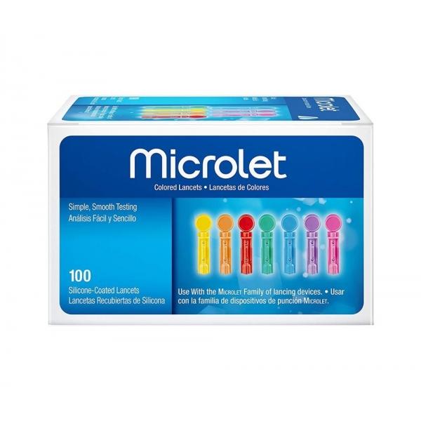 Lancetas Bayer Microlet  (100 ud colores)