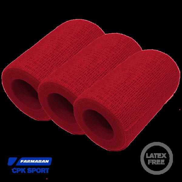 Venda Cohesiva Farmaban color rojo (Pack 3)