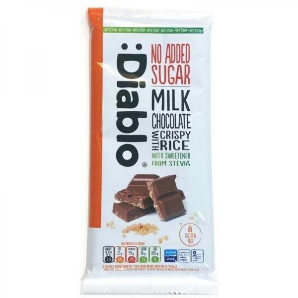 Tableta de chocolate con leche y arroz inflado con Stevia :Diablo