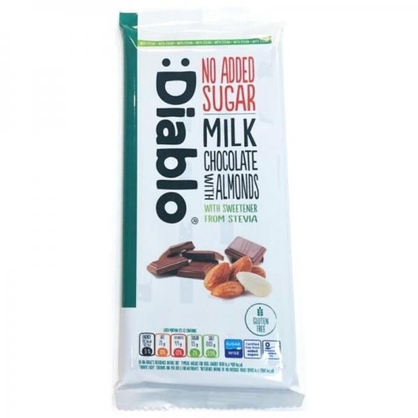 Tableta de Chocolate con Leche y Almendras con Stevia :DIABLO