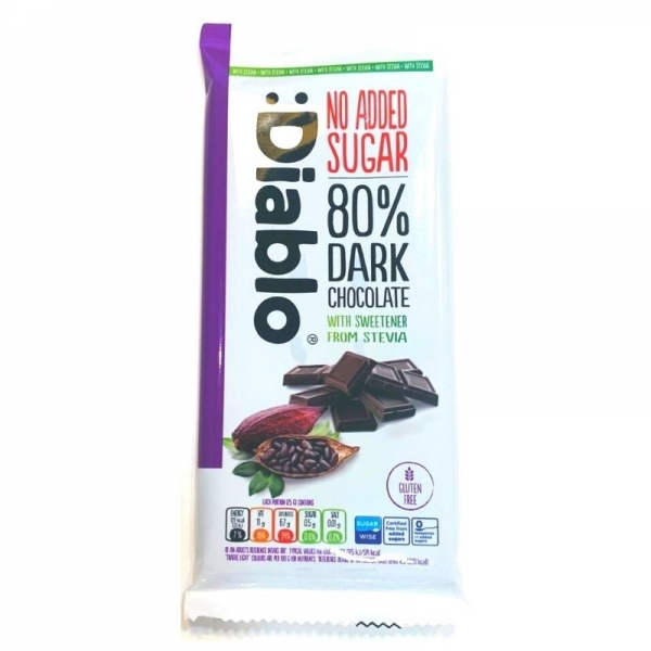 Tableta 80% Chocolate Negro con Stevia :DIABLO