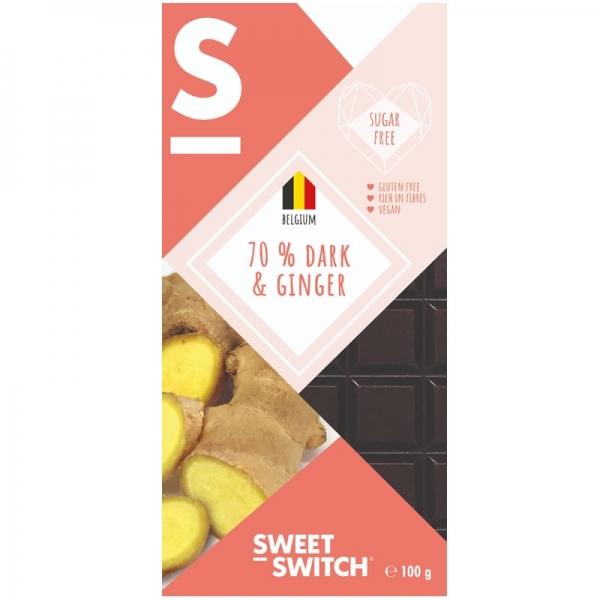 Chocolate Belga 70% con Jengibre - Sweet Switch