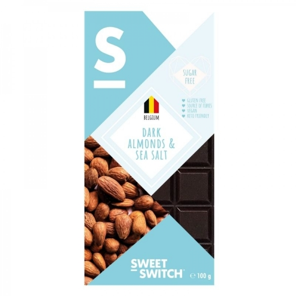 Chocolate Belga oscuro con almendras y sal marina - Sweet Switch