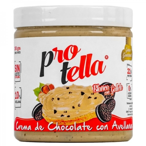 Crema de Chocolate Blanco con Avellanas y Galletas - Protella
