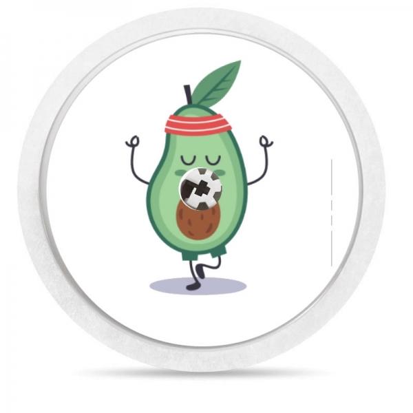 Pegatina Sticker para Freestyle Libre® - Aguacate haciendo ejercicio [99]