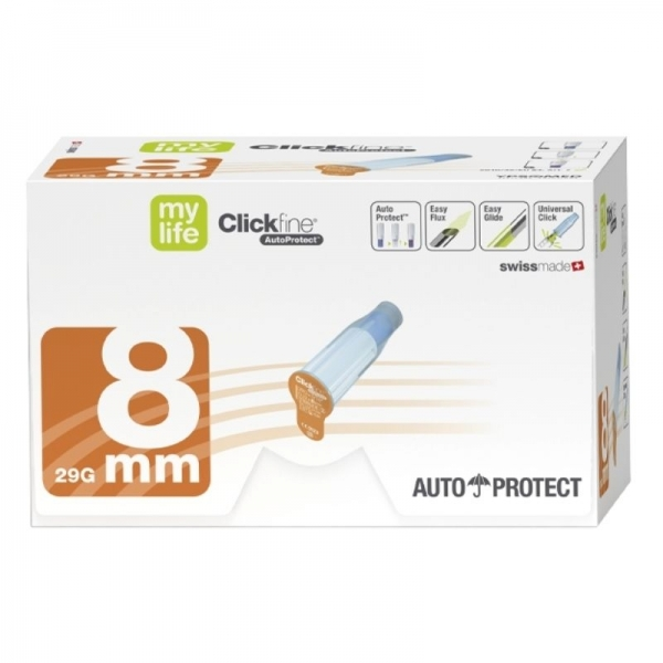 Agujas de seguridad Mylife Clickfine 8mm/29G