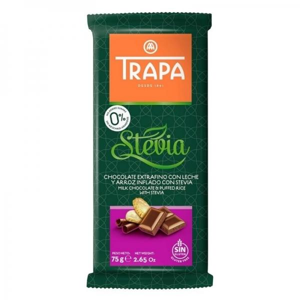 Chocolate Trapa extrafino 0% azucares  - Chocolate con leche y arroz inflado con stevia