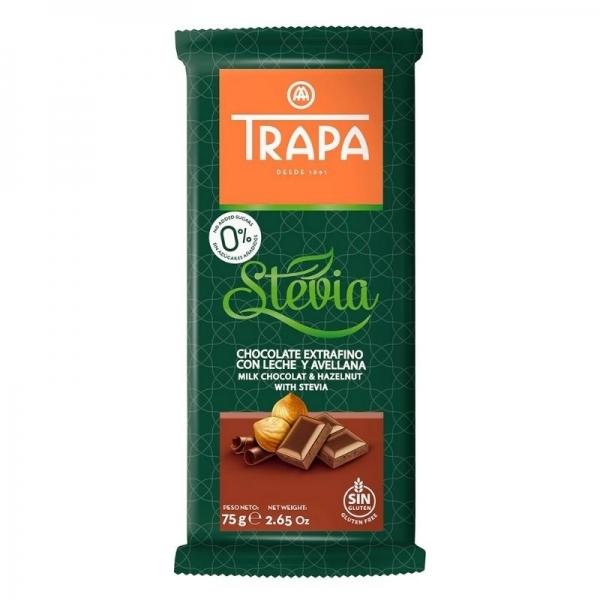 Chocolate Trapa 0% azucares con Stevia  - Chocolate con leche y avellana