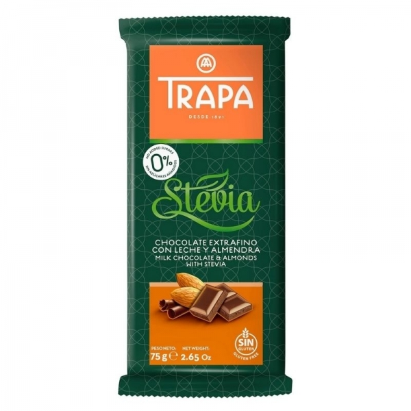 Chocolate Trapa 0% azucares con Stevia  - Chocolate con leche y almendra