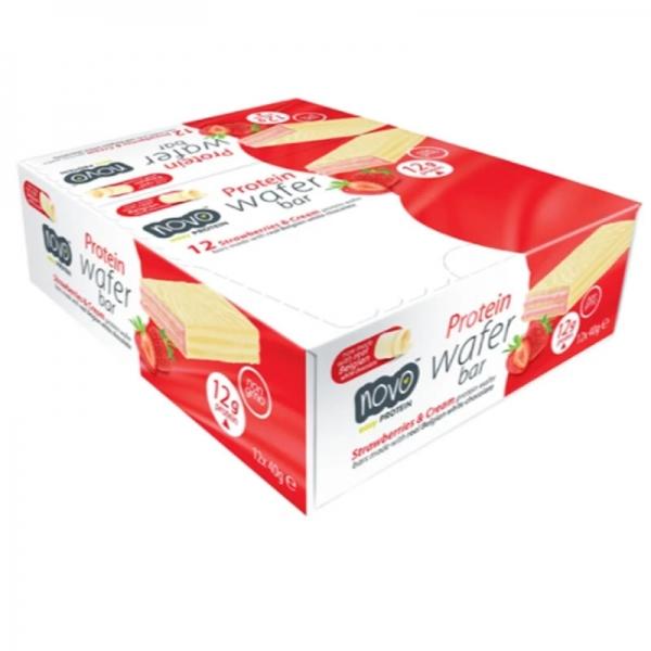 Novo Nutrition - Wafer de morango com chocolate branco (Pack x12)
